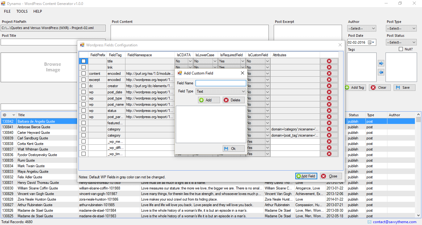 wordpress excel import custom field