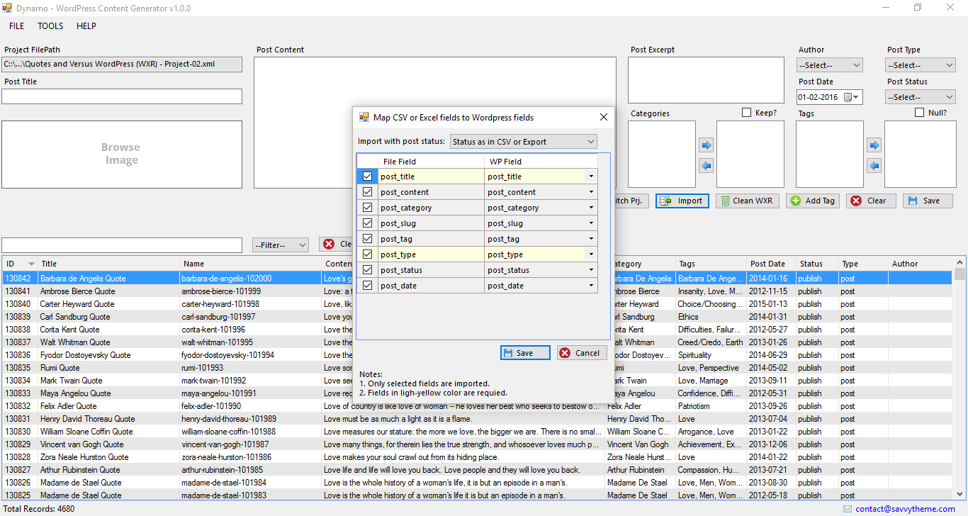 wordpress import - csv to post field mapping