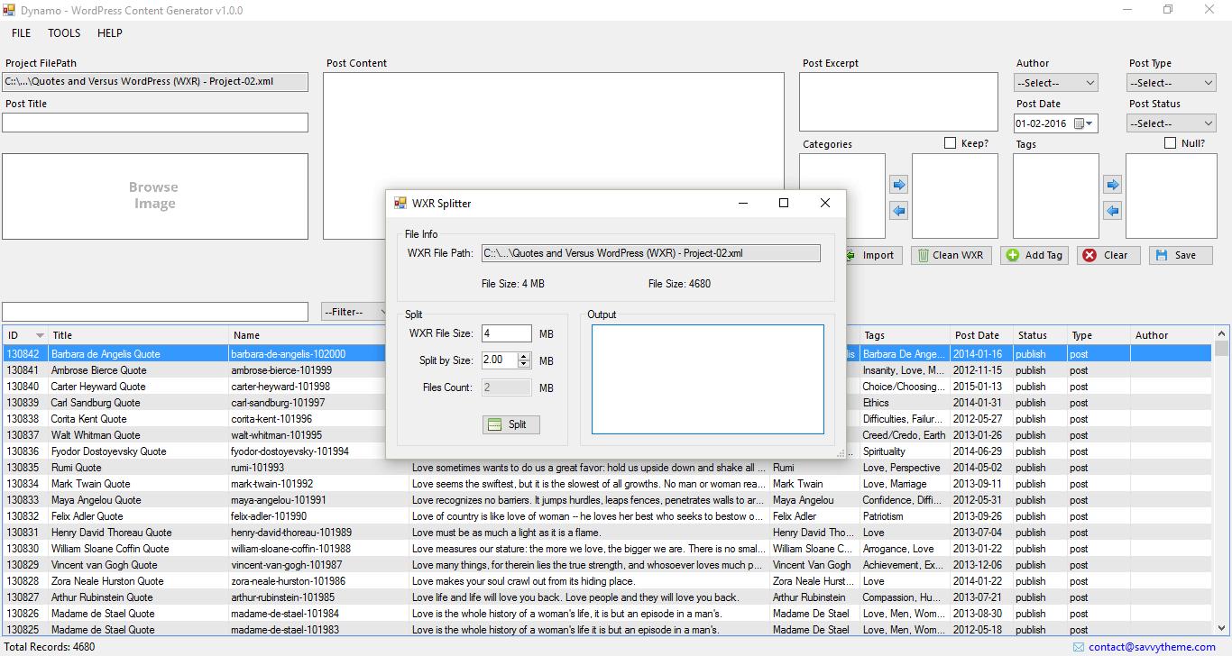 wordpress wxr file splitter
