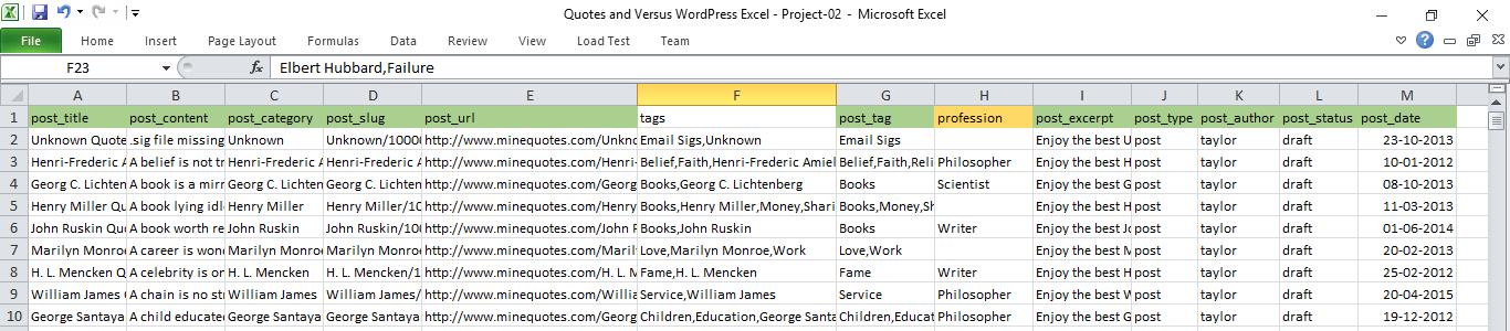excel demo data for wordpress import